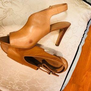 Franco Sarto Open-Toe Leather Strap Heels 8.5